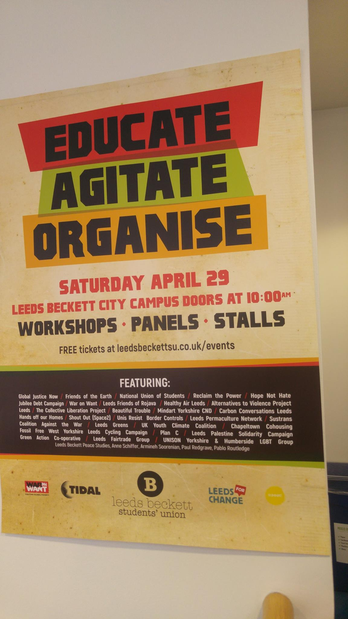 Educate, Agitate, Organise event poster, by Leeds Tidal