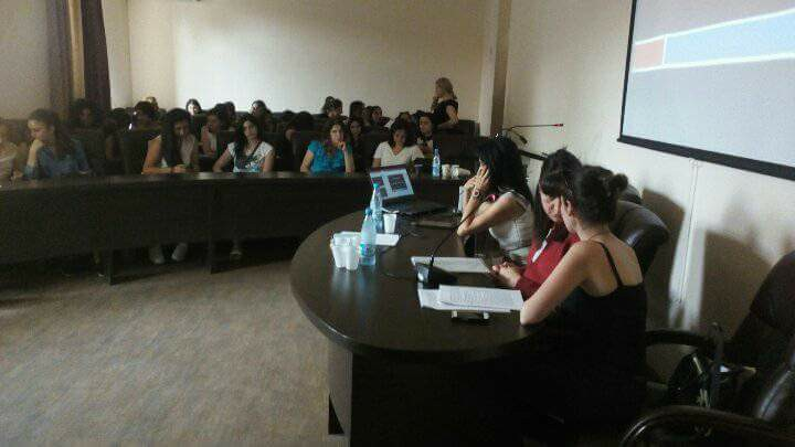 Armineh presenting a workshop in Yerevan, Armenia
